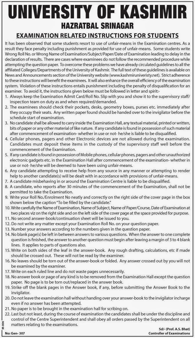 Examination Related Instructions for Students - University of Kashmir