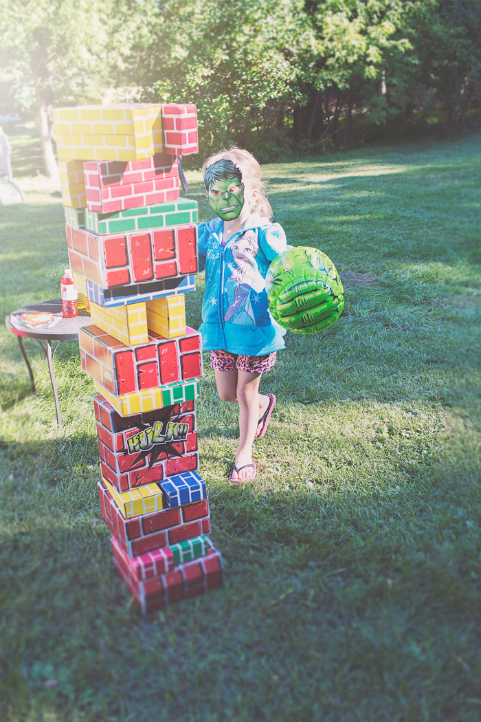 Hulk Smash Party Game with Inflatable Hulk Hands and Cardboard Bricks