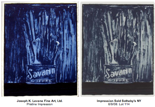 "Why did Sotheby's state the Jasper Johns Savarin Blue Lithograph offered and sold at auction was in ""good condition"""