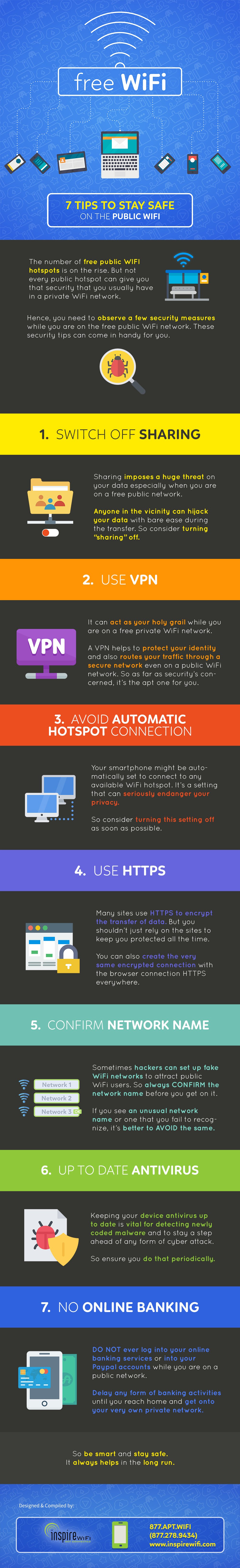 7 Tips to Stay Safe On Public WiFi - #infographic