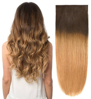 "BHF 14"" Ombre Ash Blonde(T2/18#) 85g Clip Hair Extensions 100% Human Hair Clip In Extensions Double Weft"
