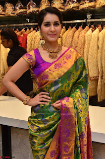 Raashi Khanna in colorful Saree looks stunning at inauguration of South India Shopping Mall at Madinaguda ~ Exclusive Celebrities Galleries 012