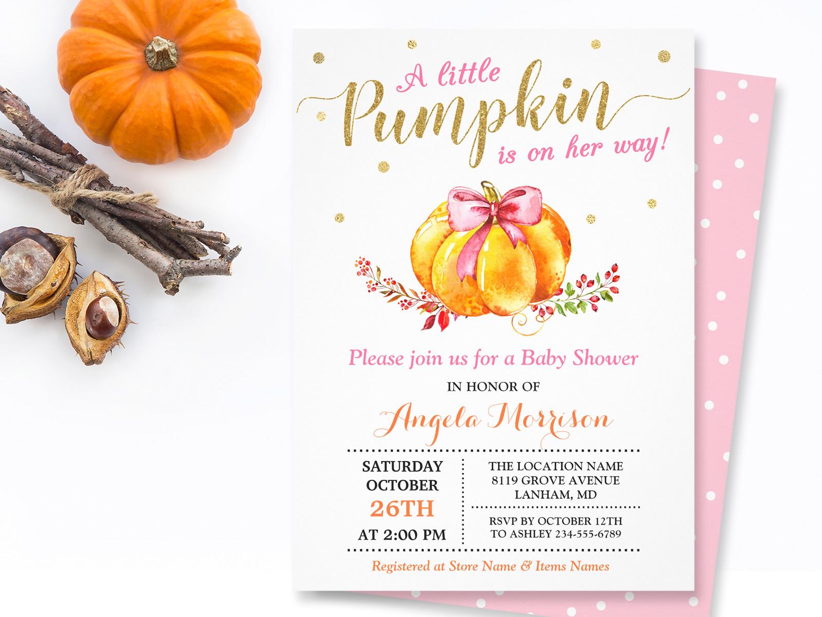 24 Little Pumpkin Fall Baby Shower invitations | Mimoprints
