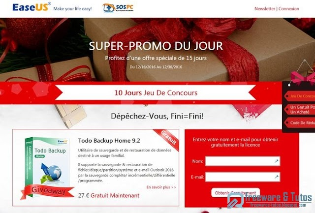 Offre promotionnelle : EaseUS Todo Backup Home 9.2 gratuit (10 jours) !