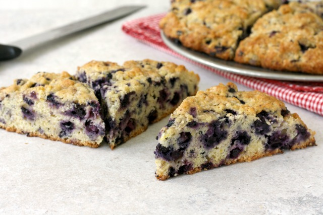 Wholegrain Lemon Blueberry Scones are wholesome made with stone ground flour. Delicious made with fresh or frozen blueberries.