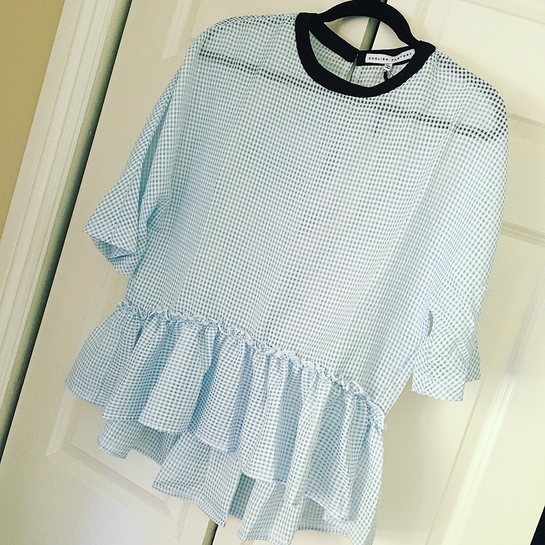 baby blue gingham top