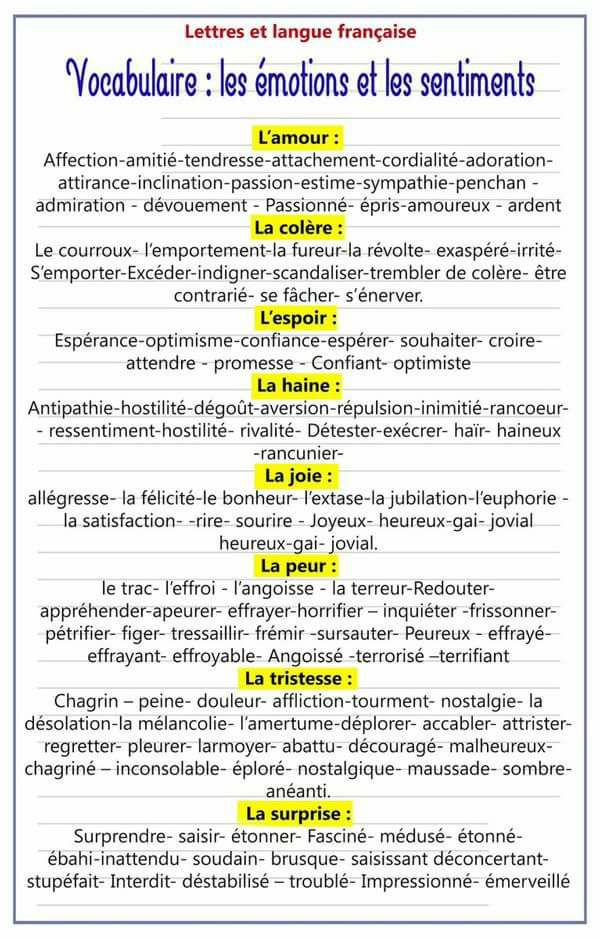 Les émotions et les sentiments - Vocabulaire français