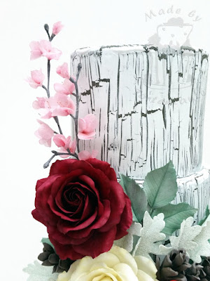 Weathered effect cake with gumpaste roses