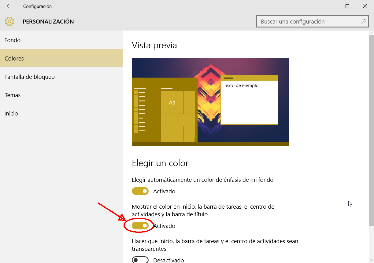 Windows 10 TH 2 Barra colores