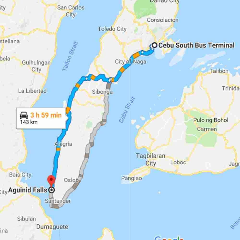 Map Destination of Aguinid Falls Samboan Cebu Philippines 2018