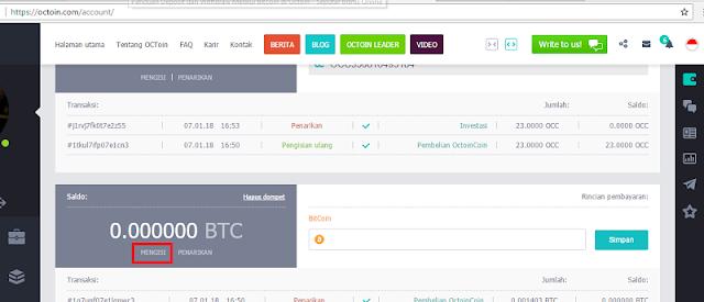Cara Deposit dan Penarikan di Octoin Melalui VIP Bitcoin