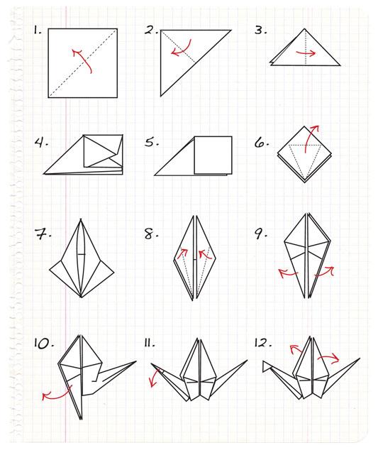 the helpful art teacher  origami paper crane on decorated paper