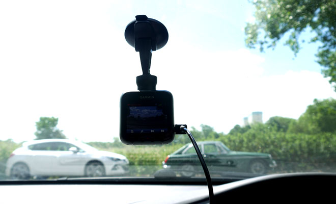 Garmin Dash Cam 20 mounted on windscreen