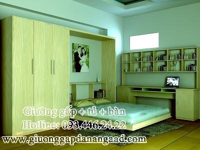 Giường gấp đa năng kèm tủ quần áo và bàn làm việc gỗ Xoan Đào