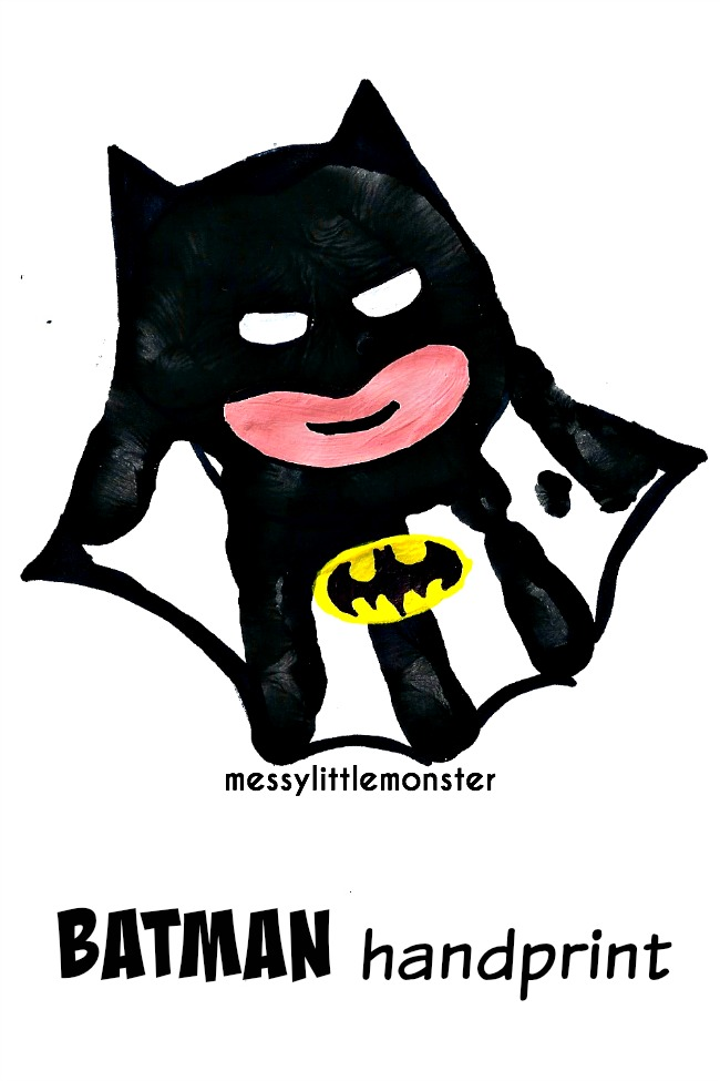 Batman handprint activity for kids.  Great superhero craft for fathers day.