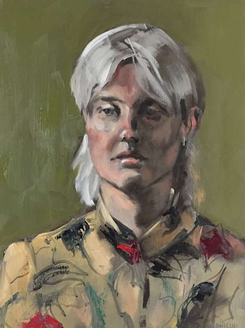 Swedish girl, Portrait of a light blond woman, painted from life by Philine van der Vegte