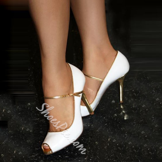 Shoespie White Peep Toe Mary Jane Stiletto Heels
