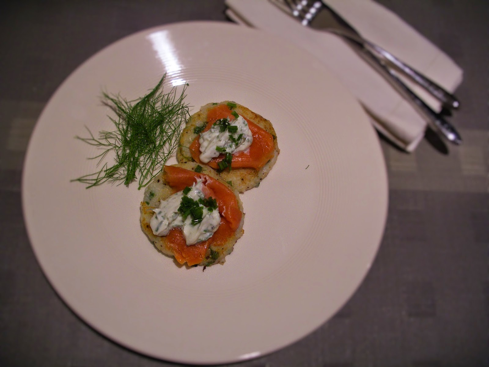Potato cakes with smoked salmon and herb crème fraîche