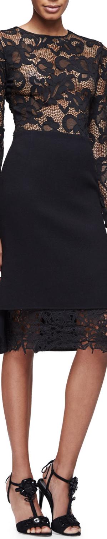 Oscar de la Renta Long-Sleeve Floral-Lace Pullover Top, Black