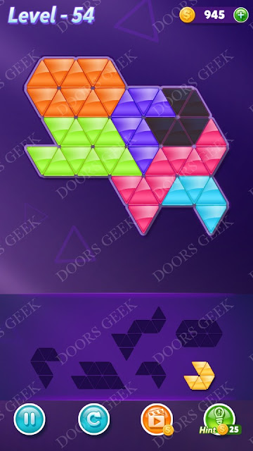 Block! Triangle Puzzle Intermediate Level 54 Solution, Cheats, Walkthrough for Android, iPhone, iPad and iPod