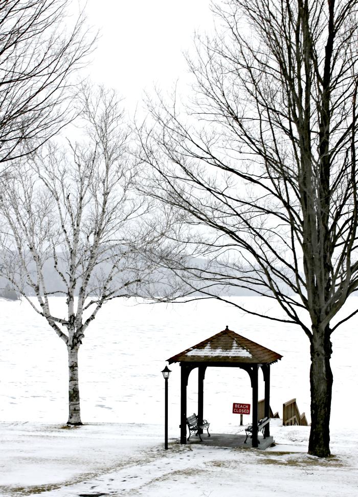 Schroon Lake, NY beach in winter - www.goldenboysandme.com