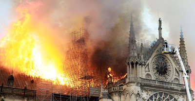 Cathedral in flames Paris France