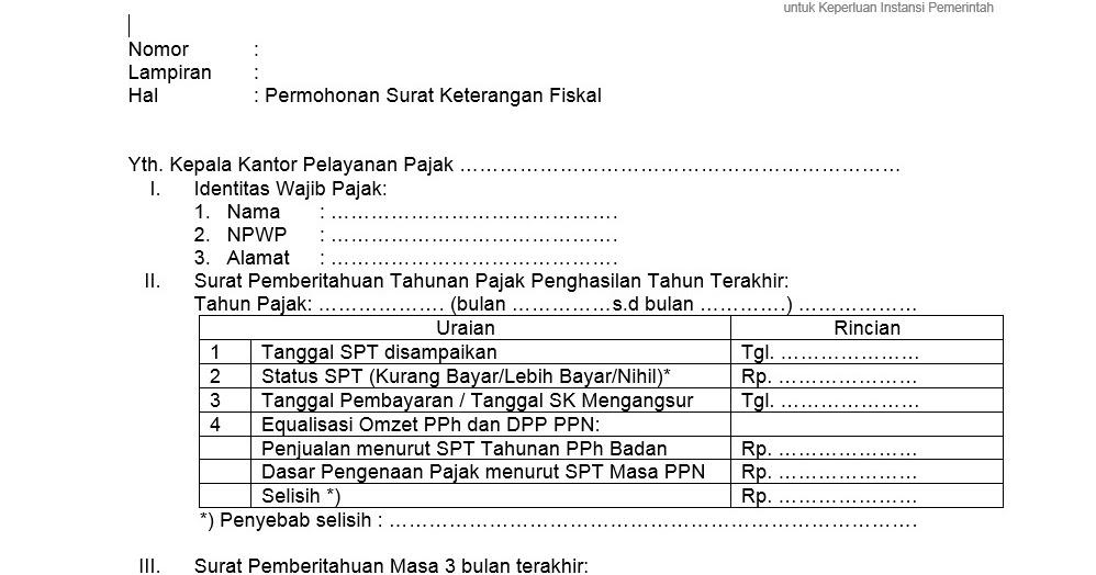 Syarat Dan Formulir Pengajuan Surat Keterangan Fiskal Skf Pajak