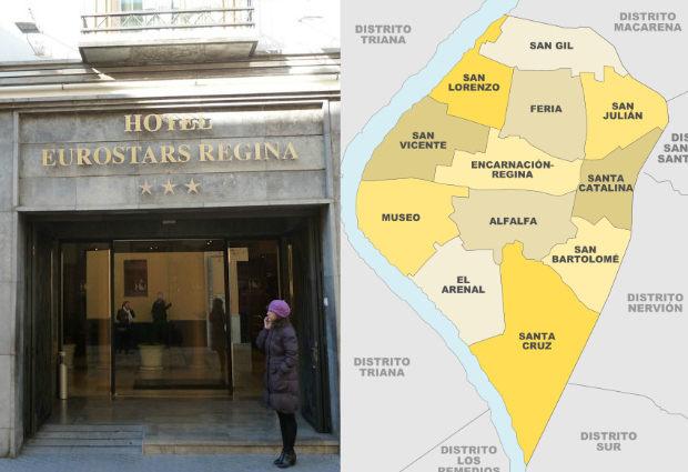 Entrada del Hotel Eurostars Regina, y mapa del distrtito centro de Sevilla