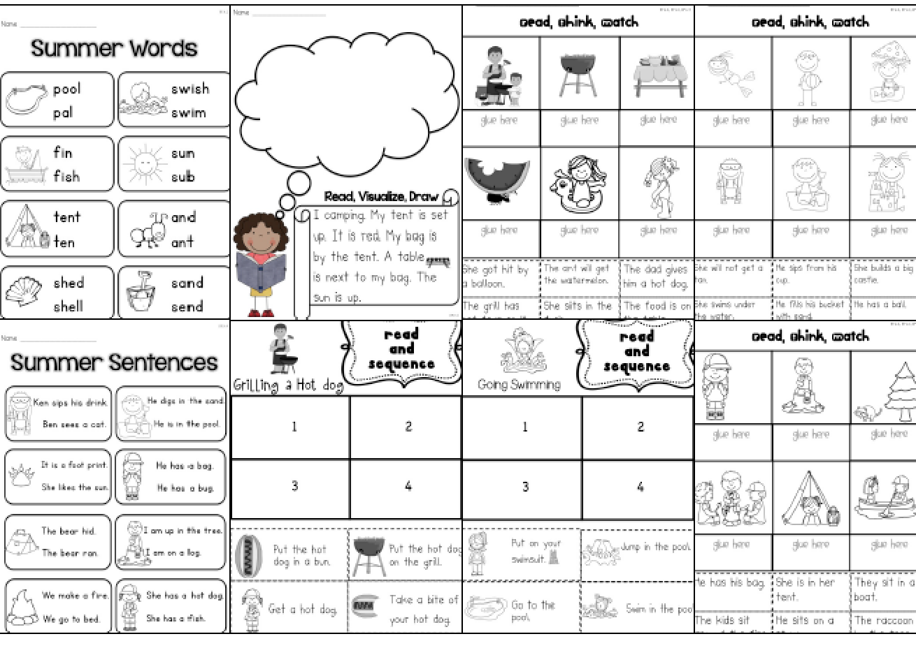 Sarah S First Grade Snippets Summer Literacy Packet For Kindergarten Getting Ready For 1st Grade
