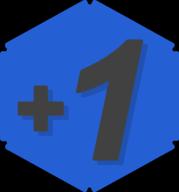 plus one hexagon icon