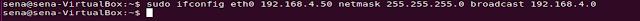 sudo ifconfig eth0 192.168.4.50 netmask 255.255.255.0 broadcast 192.168.4.0