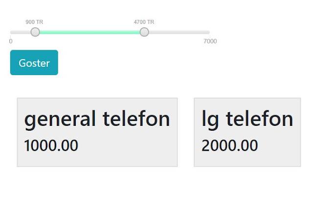 php,ajax ile iki fiyat arasındaki verileri listelemek