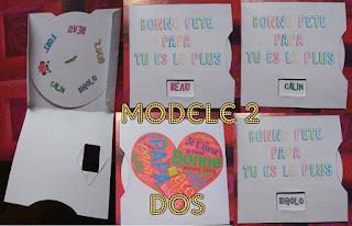 pour la fête des mères ou des pères, carte à roue à tourner pour découvrir un message