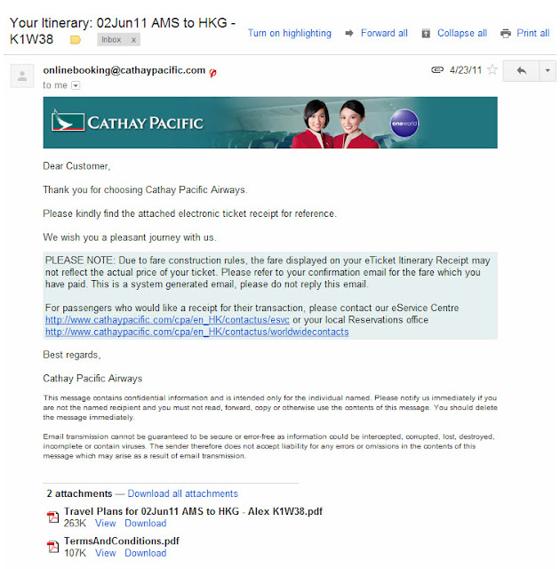 Booking confirmation Cathay Pacific