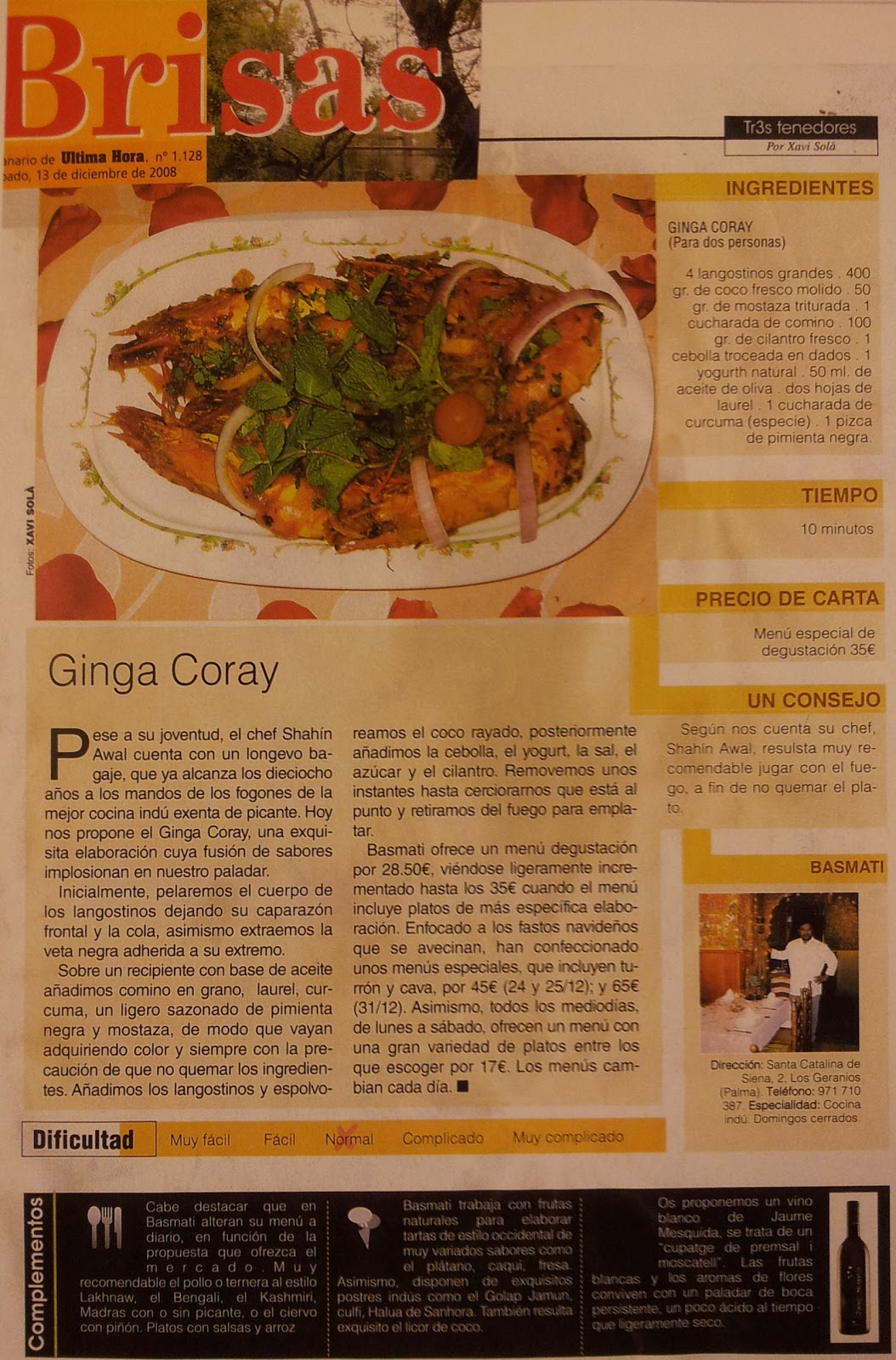 Basmati Indian Nouvelle Cuisine Receta Ginga Coray