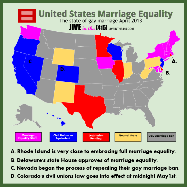 Map of the United States that reflects the state of gay marriage in each state - updated to reflect recent changes April 24, 2013. jiveinthe415.com