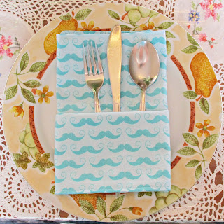 image handmade dinner napkin cutlery server fold moustache mo domum vindemia riley blake fabric aqua blue