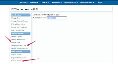 get domain name authorization code 007names
