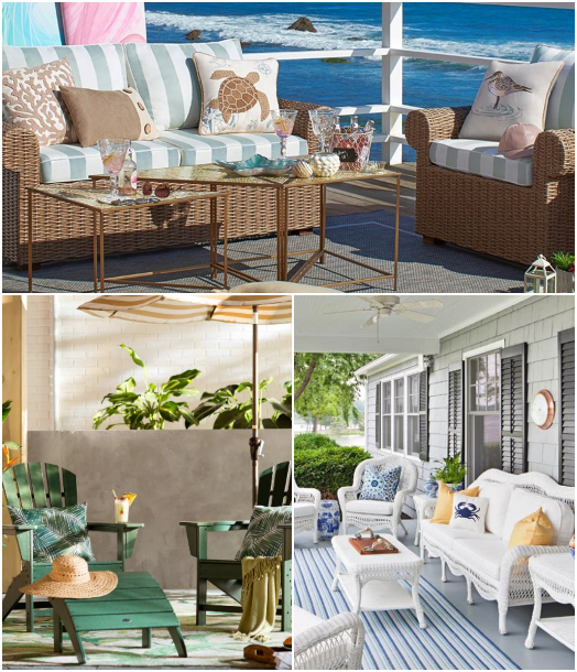 Coastal Beach Seaside Resort Style Outdoor Furniture Porch Patio Yard