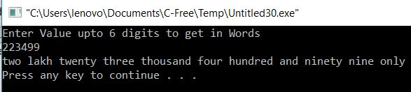 Print Given Money or Value in Words using C