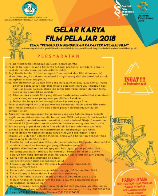 Poster Lomba Gelar Karya Film Pelajar Tahun 2018
