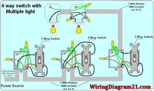 4 way switch wiring diagram house electrical wiring diagram rh wiringdiagram21 com wiring multiple fixtures wiring multiple light fixtures to one switch