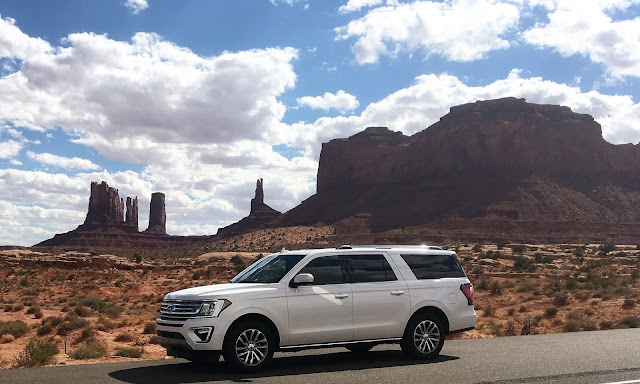 2018 Ford Expedition Max front/side view in Monument Valley, Utah
