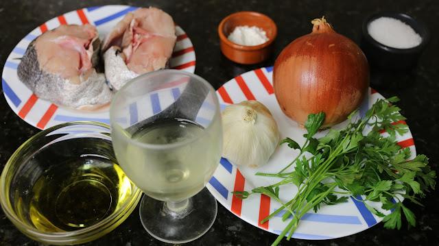 Ingredientes para merluza en salsa verde