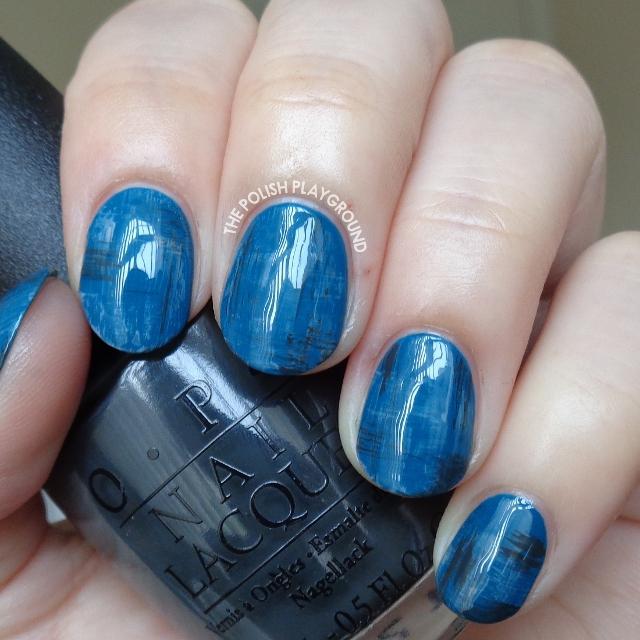 Blue and Grey Dry Brush Nail Art