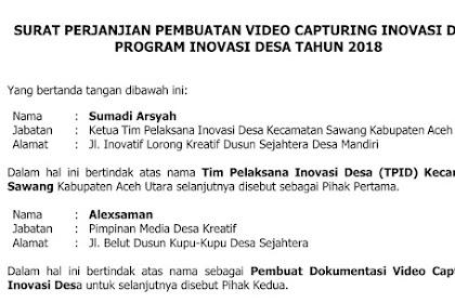 Contoh Surat Perjanjian Pembuatan Video Inovasi Desa dengan Pihak Ketiga