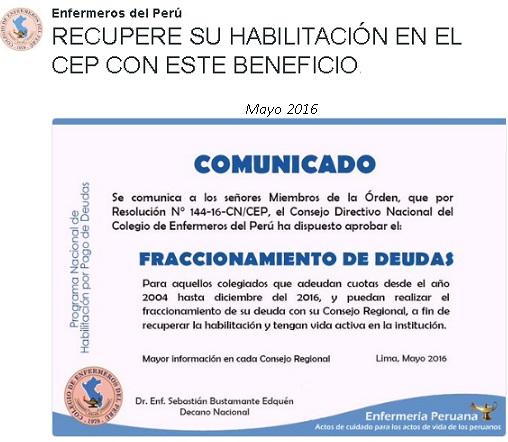 COLEGIO DE ENFERMERAS DEL PERU FRACCIONA TUS DEUDAS RECUPERA TU HABILITACION
