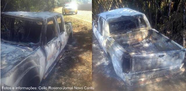 Nova Cantu: Ladrões roubam propriedade rural e durante a fuga queimam caminhonete
