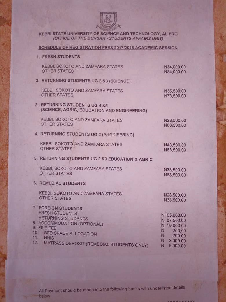 KSUSTA 2017/2018 Approved School Fees Schedule Out