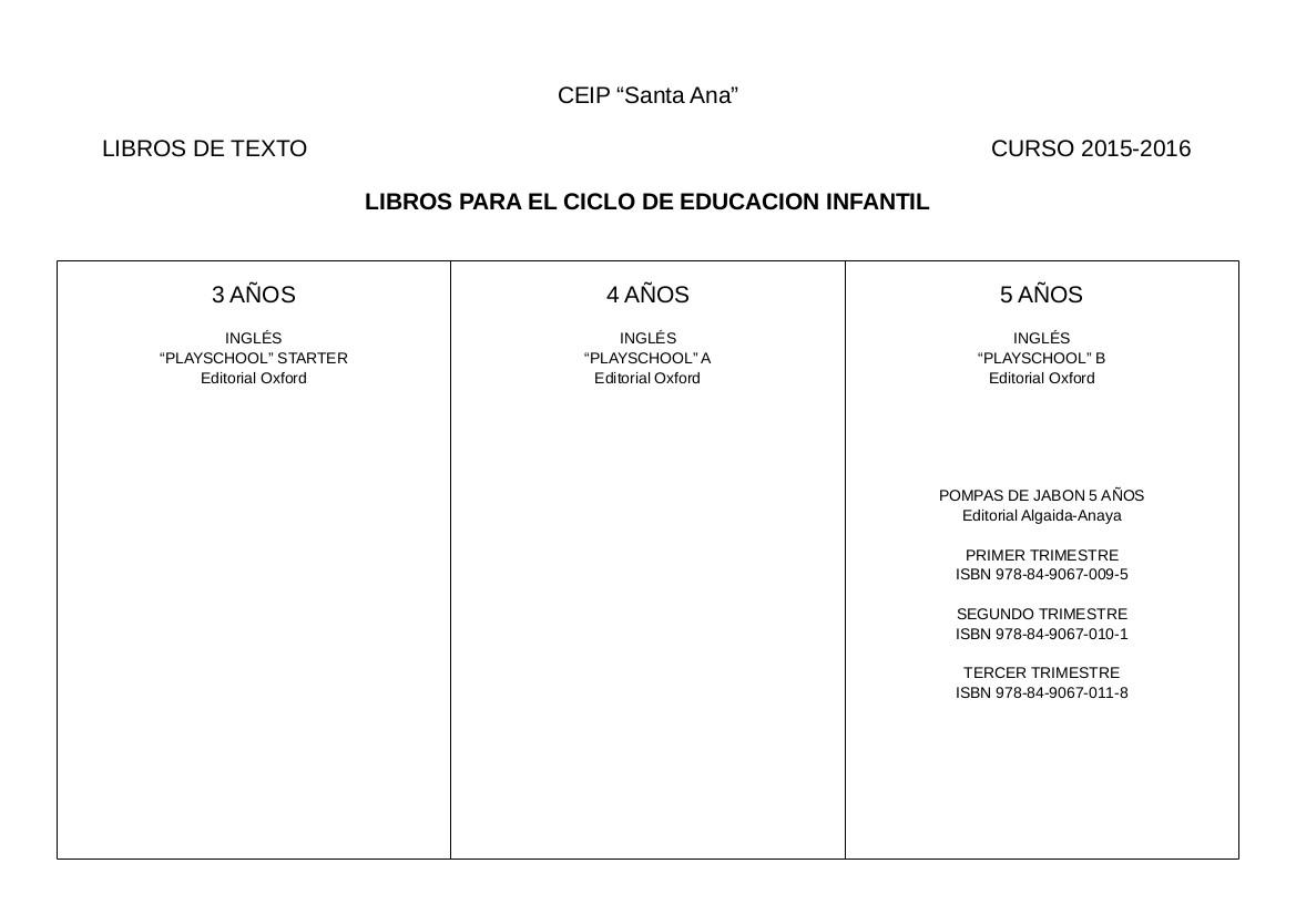 SANTA ANA EDUCACION INFANTIL: CALENDARIO Y LIBROS TEXTO